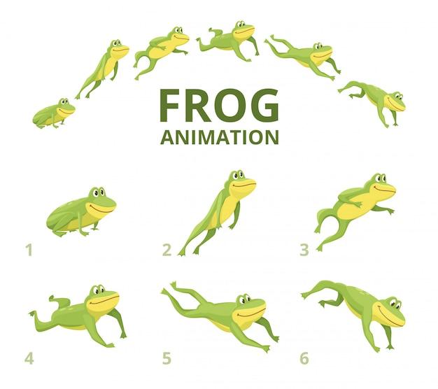 カエルのジャンプアニメーション。緑の動物のさまざまなキーフレーム