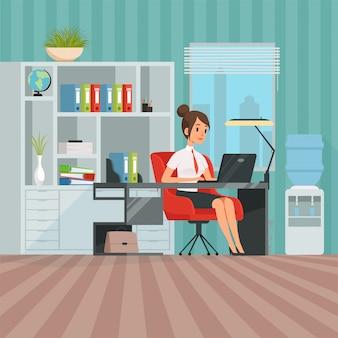 女性マネージャーのワークスペース。仕事で女性のビジネス