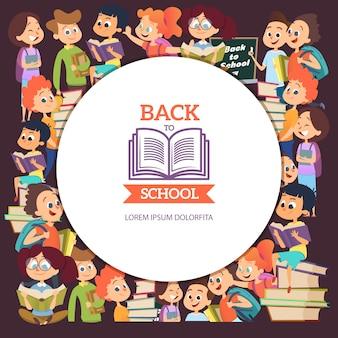 Школьники персонажи. различные мультфильм фон с мальчиками и девочками в школе