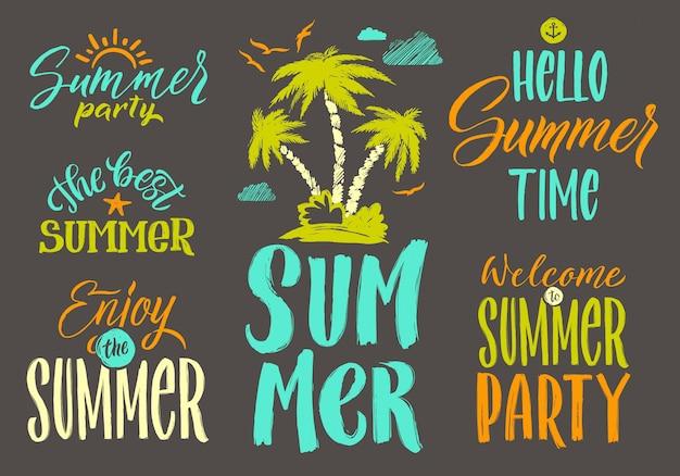 夏のはがき装飾用手書きベクトル言葉を設定します。