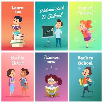 生徒とカード。学校のキャラクターとカードのデザインテンプレート