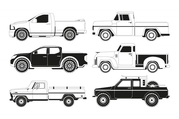 ピックアップトラックのシルエット。さまざまな自動車の黒い写真