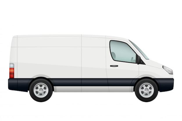 ミニバン車。白で隔離される白いミニバンの側面図