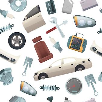 Авто инструменты шаблон. детали механики автомобильных изолированных частей двигателя колеса трансмиссии двери кузова мультфильма бесшовные картинки
