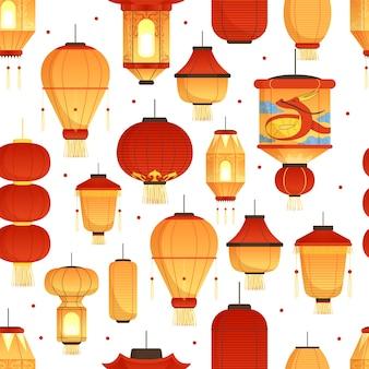 中国のランタンパターン。アジアの伝統的な新年色紙シンボル中国のドラゴンのシームレスです