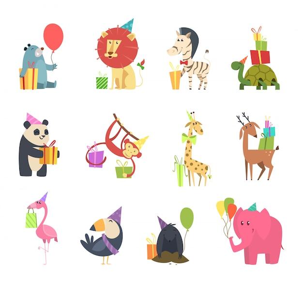 贈り物を持つ野生動物。象のハリネズミシマウマクマカメライオンと猿の漫画のキャラクターとお祝いの休日のお祝い