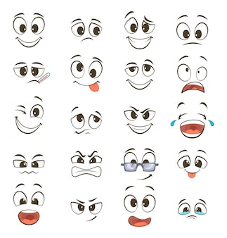 Мультфильм счастливые лица с разными выражениями. векторные иллюстрации