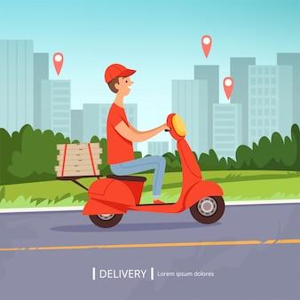 Доставка пиццы фон. свежие продукты быстрой доставки человек красный мотоцикл идеальный бизнес сервис городской пейзаж. рисунок