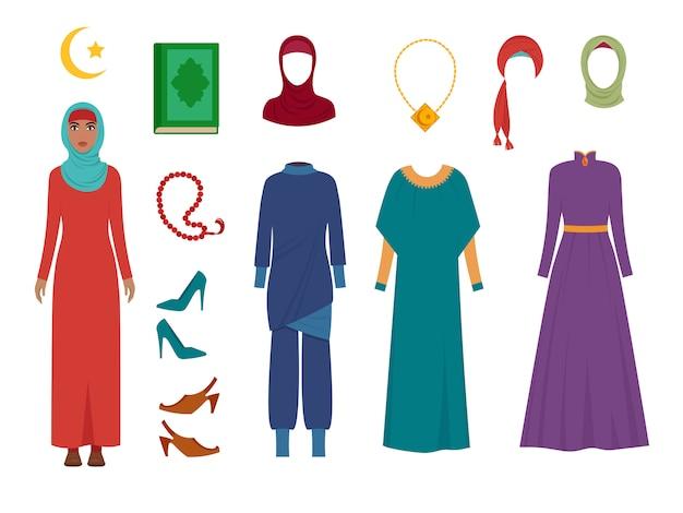 アラブの女性服。国立イスラムファッション女性のワードローブアイテムスカーフヒジャーブドレスイランイスラム教徒トルコの女の子の写真