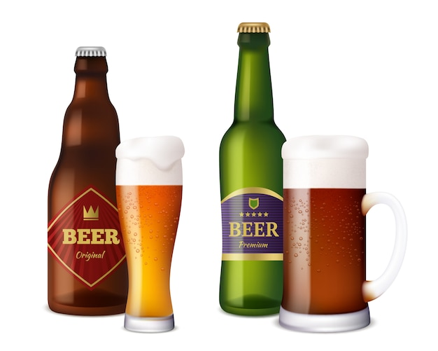 ビールグラスのボトル。アルコール飲料用のカップと容器は、泡のしぶきを含む明るい茶色の新鮮な冷たいビールを作ります。リアルな写真のビール