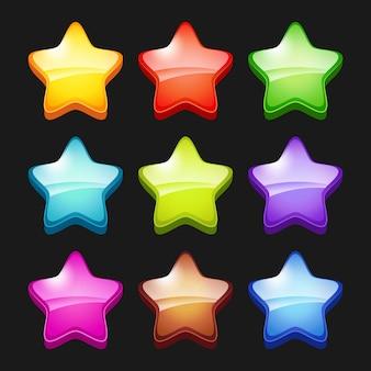 Цветные мультипликационные звезды. блестящие игровые кристаллы, значки статуса, графические элементы для мобильных игр