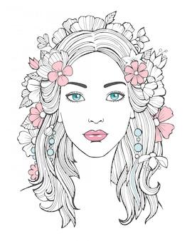 美しい女性の肖像画。髪の芸術の花を持つ神秘的な図面の美しさ若い女性
