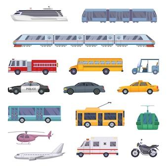 Различный набор городского транспорта.