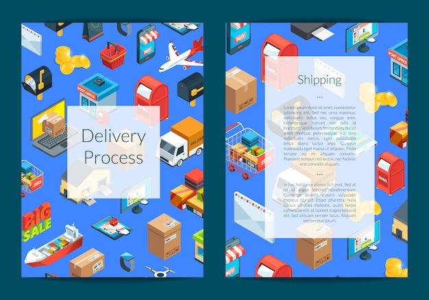 Изометрические иконки доставки и доставки