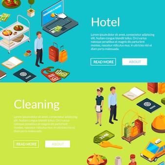 Изометрические иконки отелей веб-баннер шаблоны