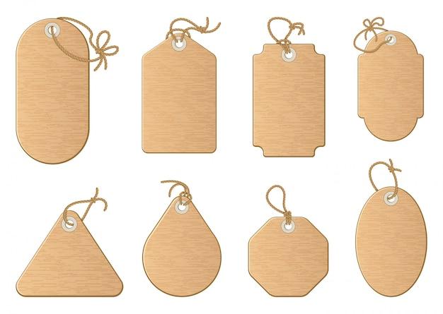 Различные формы покупки продажи теги, изолированные на белом.