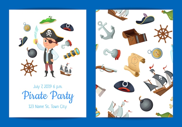 漫画海海賊誕生日パーティーの招待状のテンプレート