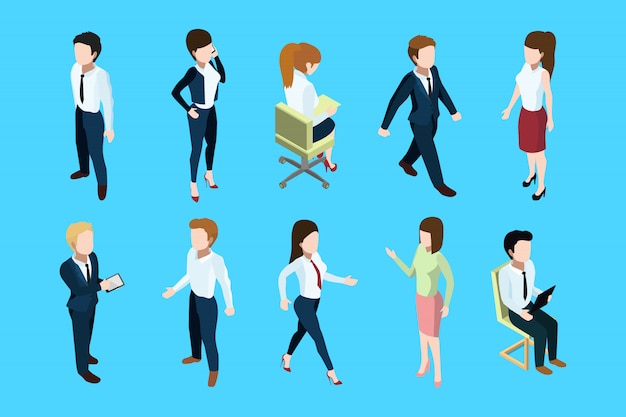 立っているとオフィスのインテリアに座っているさまざまなビジネス人々。