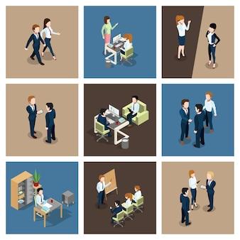 Различные бизнес-ситуации в офисе. бизнесмен работает с его командой.