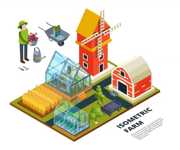 Фермерская оранжерея, сельское хозяйство, поле, пол, плантация, стеклянный дом, фрукты, овощи, деревья, растения, изометрия.