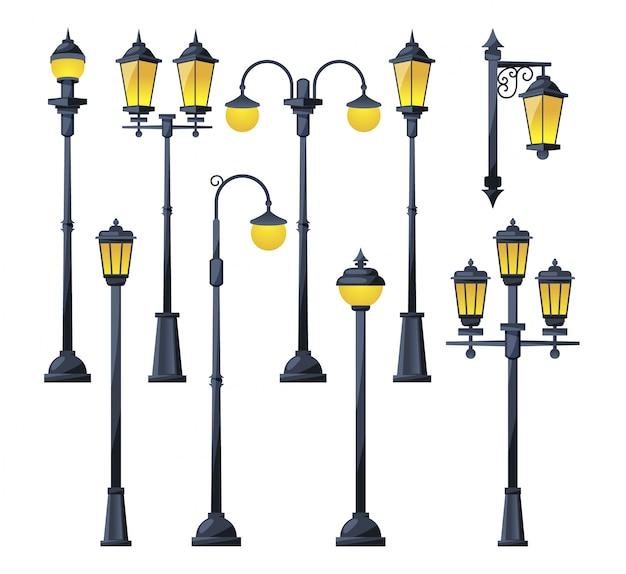 Векторная иллюстрация старых городских ламп в мультяшном стиле.