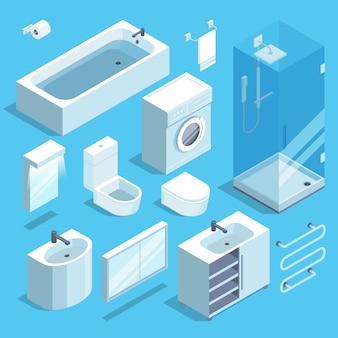 バスルームのインテリアの等尺性家具要素セット。ベクトルイラスト