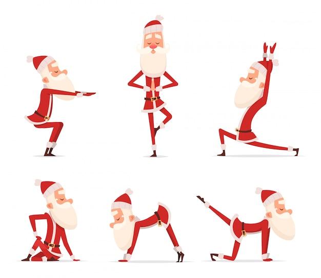 サンタヨガのポーズ、クリスマス冬ホリデースポーツ健康的なキャラクターに立って様々なリラックスポーズかわいいマスコット分離