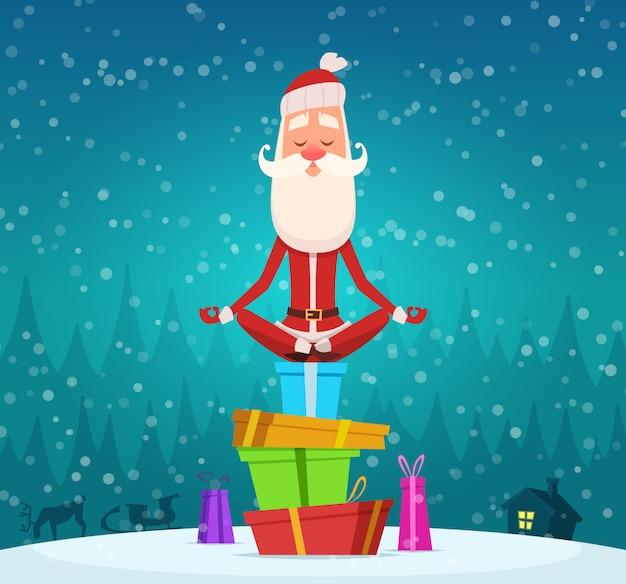 サンタリラックス瞑想、冬のクリスマスホリデーキャラクターサンタクロース屋外ヨガのエクササイズを行うマスコット