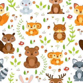森林動物と夏の植物のシームレスなパターンベクトル