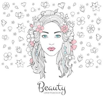 かわいい女性の肖像画、グラマーファッションの若い美しい女性の花髪とあなたのテキストのための場所と顔の背景を笑顔
