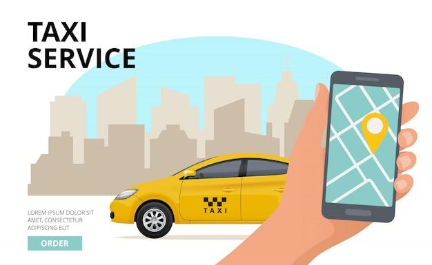タクシーの注文、ビジネス都市公共都市車旅行バナーを呼び出すスマートフォンとプッシュボタンを持っている手