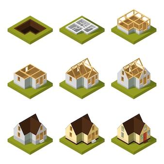 異なる建築段階における近代建築物の視覚化