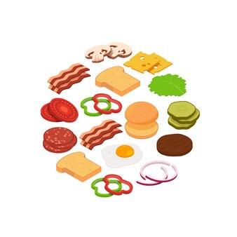 円で等尺性ハンバーガー成分