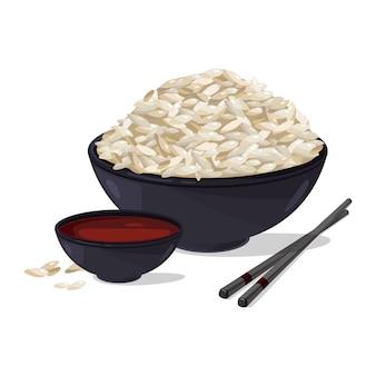 Японская еда. чаша с белым рисом. набор векторных иллюстраций