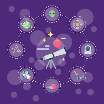 Плоское пространство иконки инфографики концепция