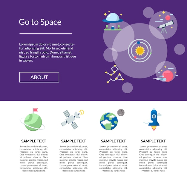 Плоское пространство иконки баннер целевой страницы