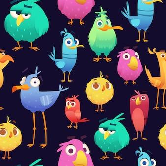 Злой узор птиц. игра попугаев и экзотических малышей, милые и смешные разноцветные птички. мультфильм бесшовные иллюстрации