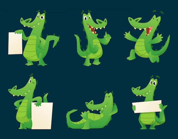ワニのキャラクター。野生動物ワニ両生類爬虫類動物漫画マスコットポーズイラストセット