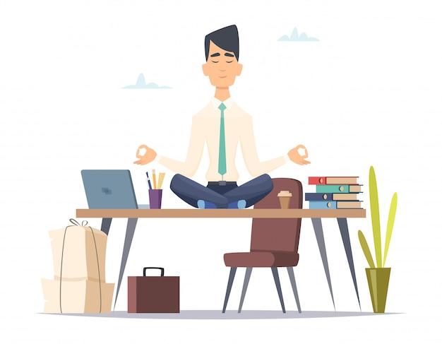 ビジネスマンヨガ瞑想。オフィスは、ワークスペースでロータスヨガの練習に座っているストレスの多い仕事忙しい男でリラックスします。