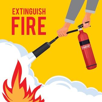 手の中に消火器。赤い消火器と消防士は大きな炎注意プラカードを消します