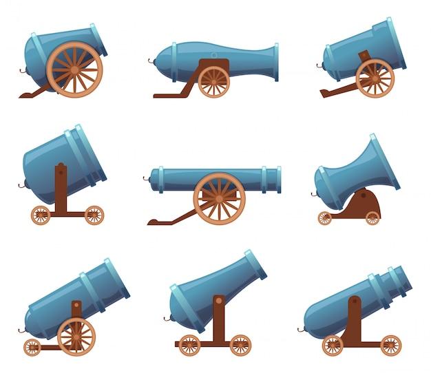 Ретро пушка. старинные военные старые железные орудия средневековой цирковой артиллерии в мультяшном стиле