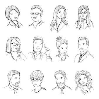 男性と女性の手描きの絵文字やウェブのアバターのイラスト。さまざまなビジネス面のウィット