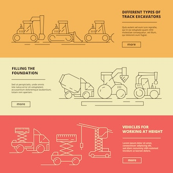 Строительная техника баннеры. строительная промышленность тяжелый автомобиль грузовик бульдозер грузоподъемный кран шаблон