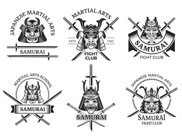 Боевые азиатские ярлыки. самурай, агрессивный воин маски и меч катана этикетки логотип или татуировки