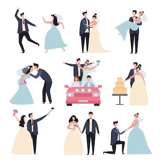 Свадебные пары. церемония бракосочетания праздник венчание день любовь жених обручальные кольца персонажи