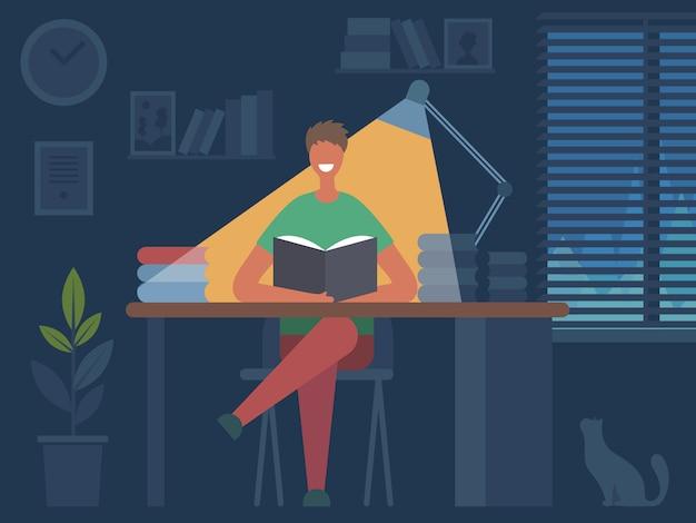 Чтение книжных увлечений. человек сидит за столом и читает журнал в темной комнате интерьер плоской иллюстрации характера