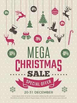 大きな販売のためのクリスマスポスター。新年バウチャーお得な割引クーポンテンプレート