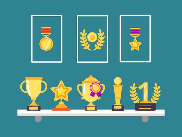 Достижения на полках. настенные трофейные золотые кубки и медали в рамах для спортивных победных иллюстраций в плоском стиле