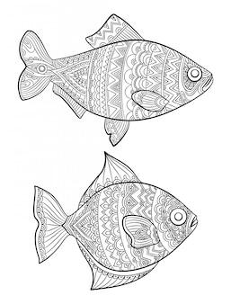 魚の着色ページ。大人用の海洋動物の絵を描くファッションブックリニアアートライン
