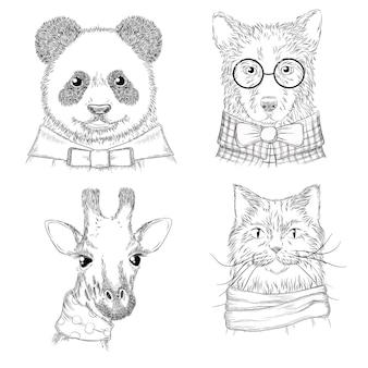 流行に敏感な動物。様々な服の手描きのスケッチの野生動物のファッションイラスト